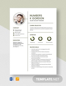 Major Account Manager Resume Template