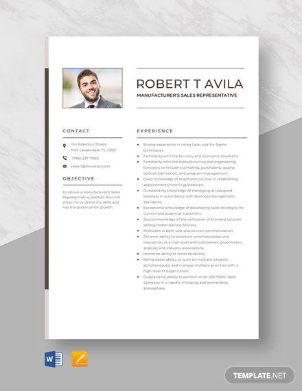 Sales And Marketing Representative Resume Template - Word ...