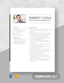 Manufacturer's Sales Representative Resume Template