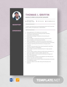 Manufacturing Accounting Manager Resume Template