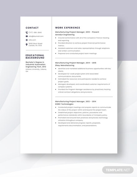 manufacturing project manager resumecv template  word