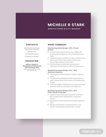 manufacturing quality manager resumecv template  word