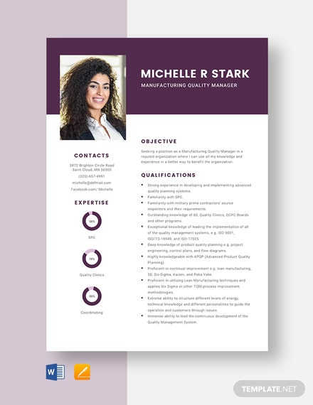 Manufacturing Quality Manager Resume Template