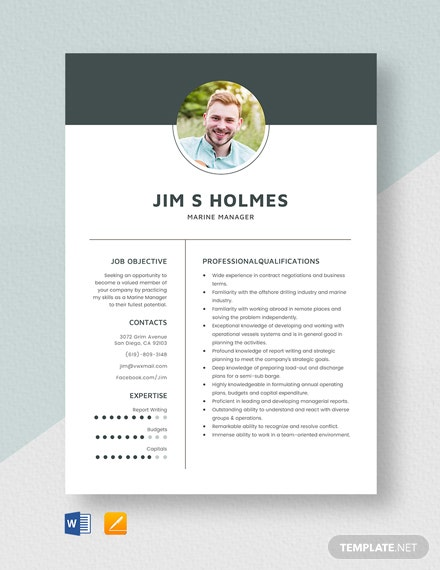 Marine Manager Resume Template