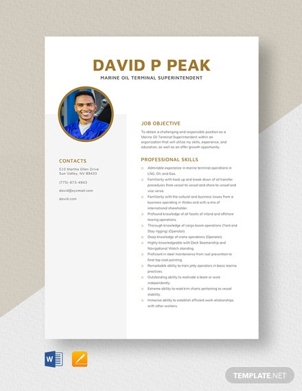 Marine Oil Terminal Superintendent Resume Template
