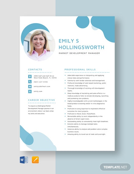 Market Development Manager Resume Template