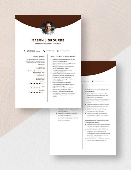 Market Development Specialist Resume Download