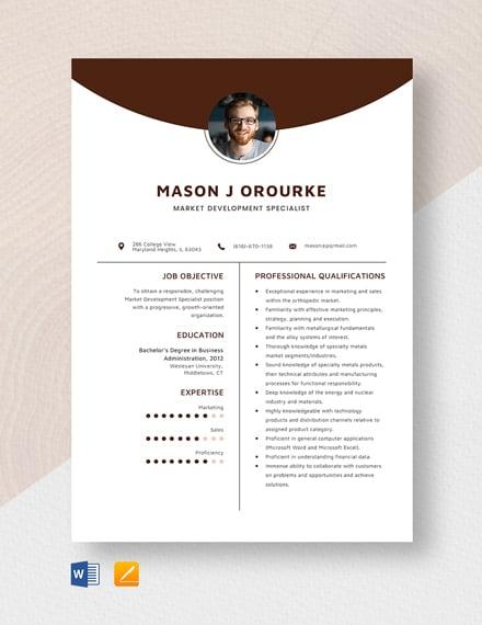 Market Development Specialist Resume Template