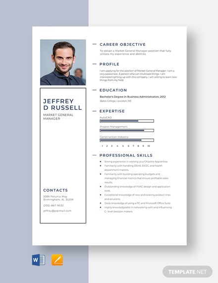 Market General Manager Resume Template