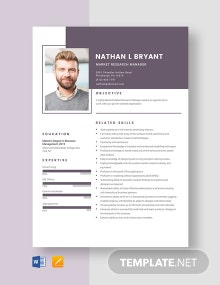 Market Research Manager Resume Template