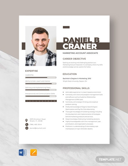 Marketing Account Associate Resume Template