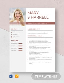 Marketing Account Manager Resume Template