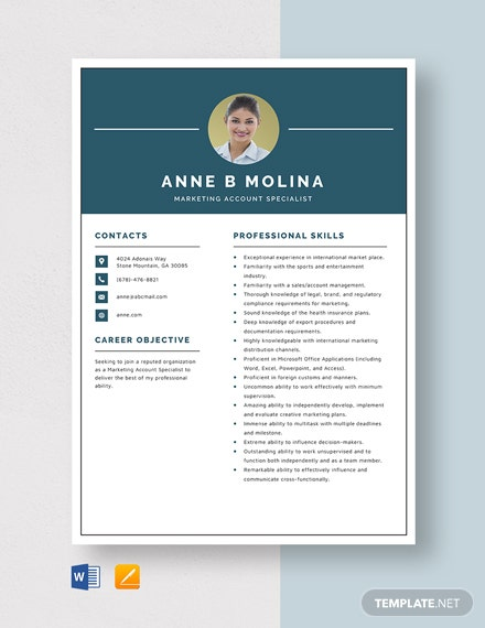 Marketing Account Specialist Resume Template