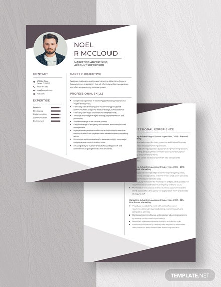 Marketing Advertising Account Supervisor Resume Download