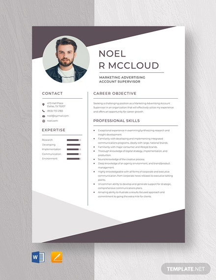 Marketing Advertising Account Supervisor Resume Template