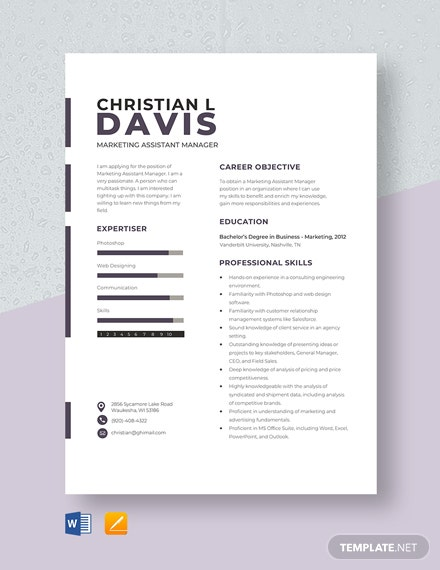 Marketing Assistant Manager Resume Template