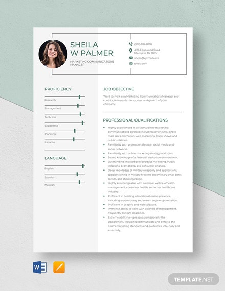 Marketing Communications Manager Resume Template