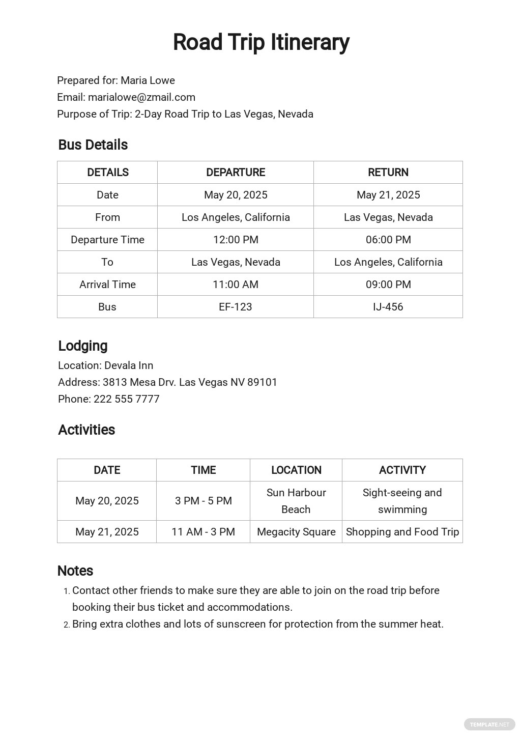 Road Trip Itinerary Template