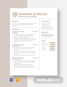 Marketing Product Manager Resume Template