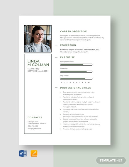 Marketing Services Manager Resume Template