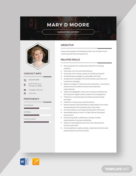 Marketing Writer Resume Template