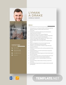 Marriage Therapist Resume Template