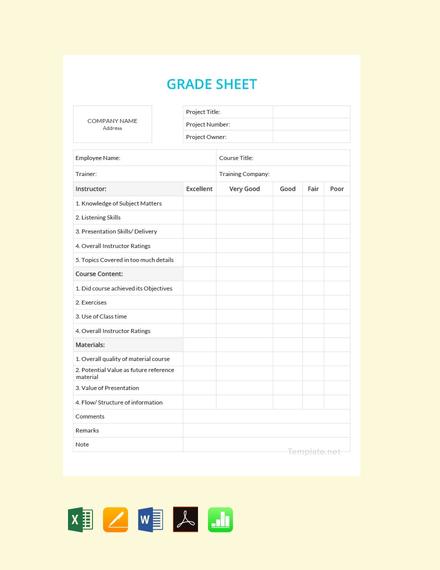 Blank Grade Sheet Template