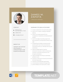 Landscape Manager Resume Template
