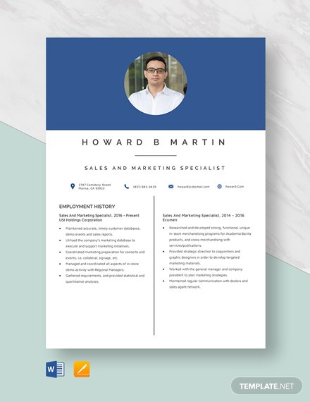 Sales And Marketing Specialist Resume Template