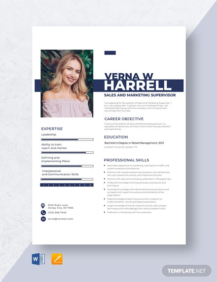 Sales And Marketing Supervisor Resume Template