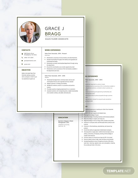 Sales Floor Associate Resume Download