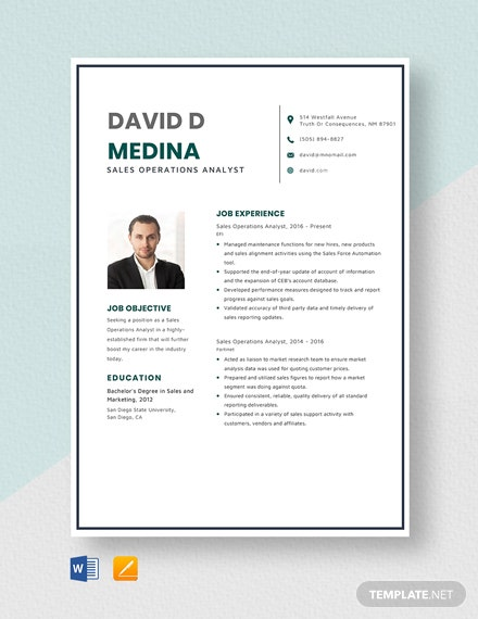 Sales Operations Analyst Resume Template