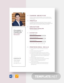 Sales Order Processor Resume Template
