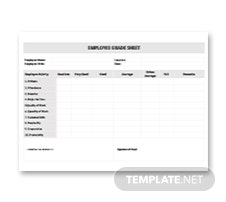 Employee Grade Sheet Template