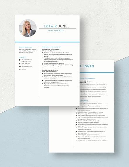 Sales Recruiter Resume Download
