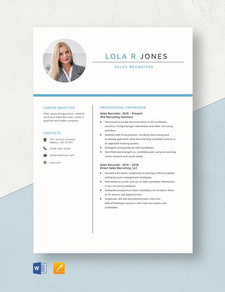 Sales Recruiter Resume Template