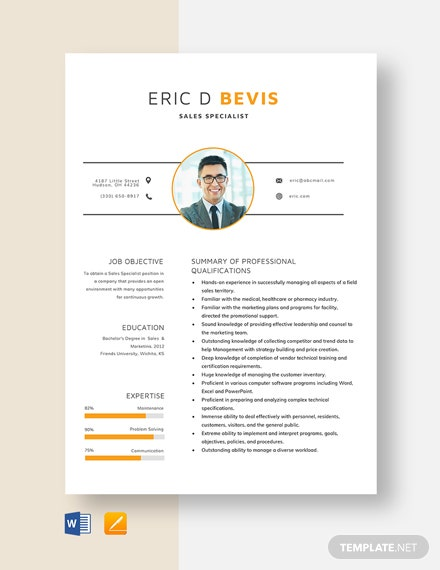 Sales Specialist Resume Template