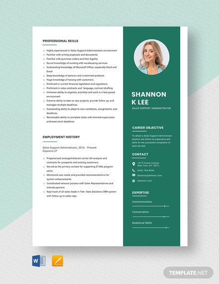 Sales Support Administrator Resume