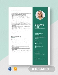 Sales Support Administrator Resume Template