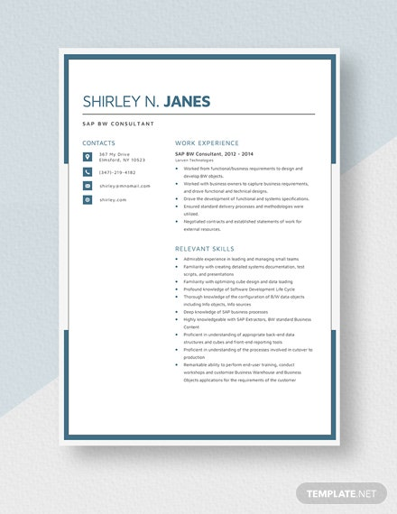 sap bw consultant resumecv template  word  apple pages
