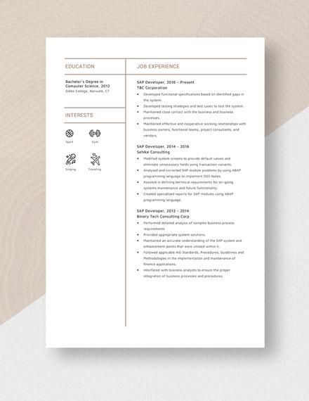 SAP Developer Resume Template