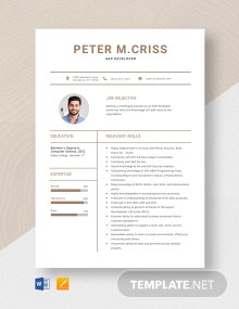 SAP Developer Resume Template