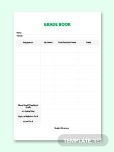 Simple Grade Sheet Template