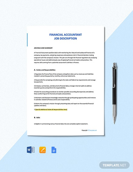 Free Financial Accountant Job Description Template