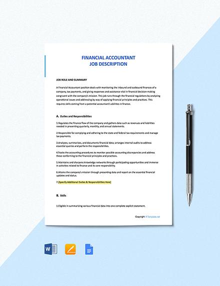 Free Financial Accountant Job Description Template