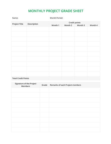 Monthly Grade Sheet Template