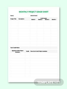 Monthly Grade Sheet Template