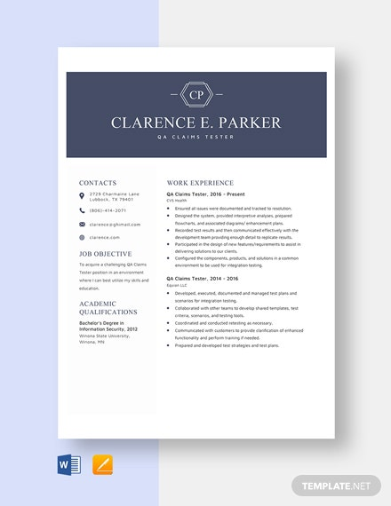 QA Claims Tester Resume Template