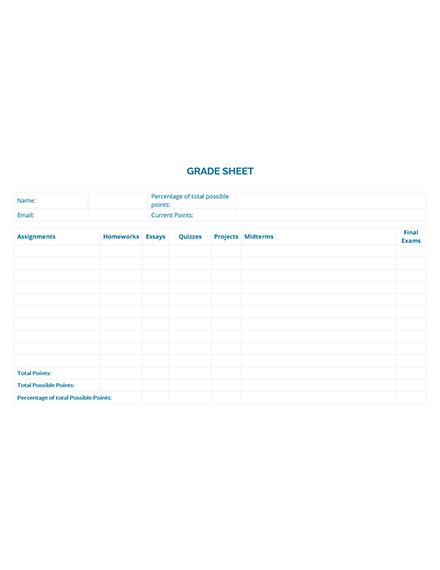 Sample Grade Sheet Template