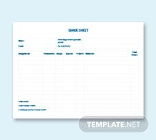 Sample Grade Sheet Template